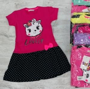 Sukienka dziewczęca krótki rękaw-Turecka (4-8 lat) NL5913