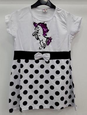 Sukienka dziewczęca krótki rękaw-Turecka (4-8) NL5788