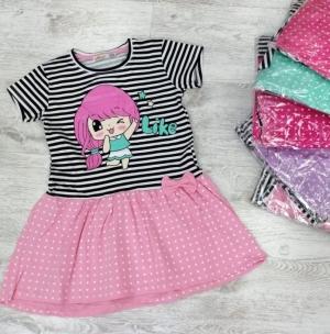 Sukienka dziewczęca krótki rękaw-Turecka (4-8 lat) NL5906