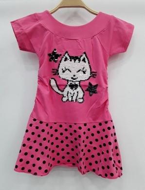 Sukienka dziewczęca krótki rękaw-Turecka (3-7) NL5780