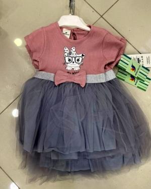 Sukienka dziewczęca krótki rękaw-Turecka (9-24M) NL2423