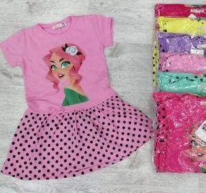 Sukienka dziewczęca krótki rękaw-Turecka (4-8 lat) NL5909