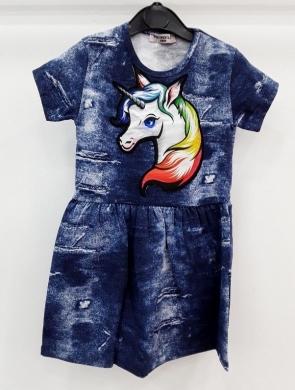 Sukienka dziewczęca krótki rękaw ŚWIATŁO- Turecka (5-8) NL5794